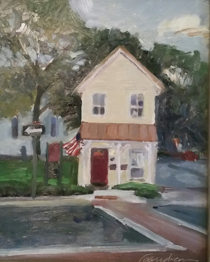 Oil painting The Little Yellow House on Bond st  by Michael  Gaudreau