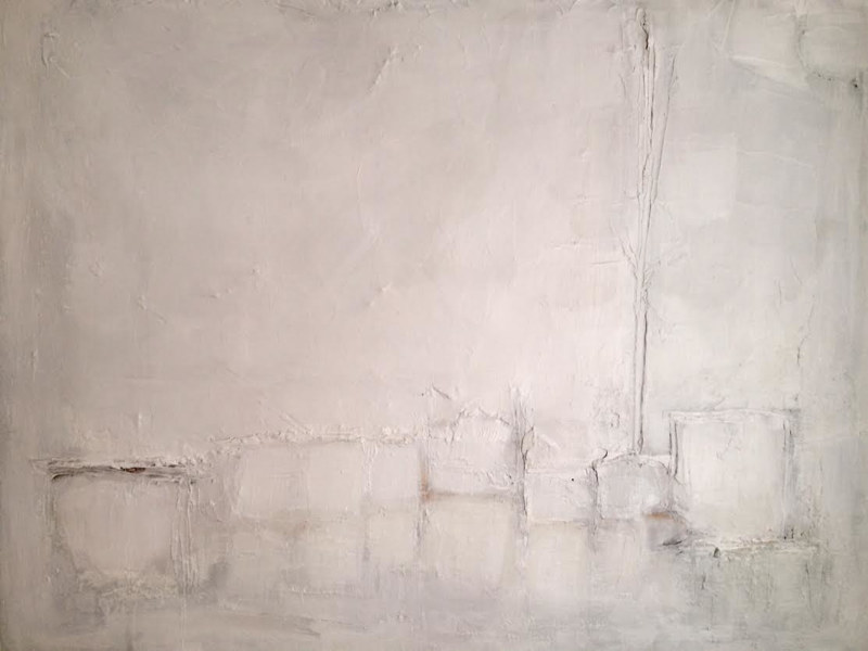Mixed-media artwork Textured Abstract in Whites by Sarah Trundle