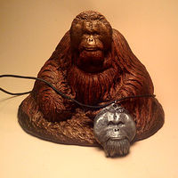 Sculpture Pongo orangutan sculpture pendant combo cold cast pewter by Jason  Shanaman