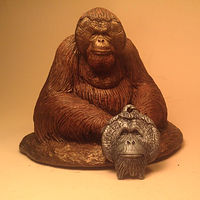 Sculpture Christopher orangutan sculpture pendant combo cold cast pewter by Jason  Shanaman