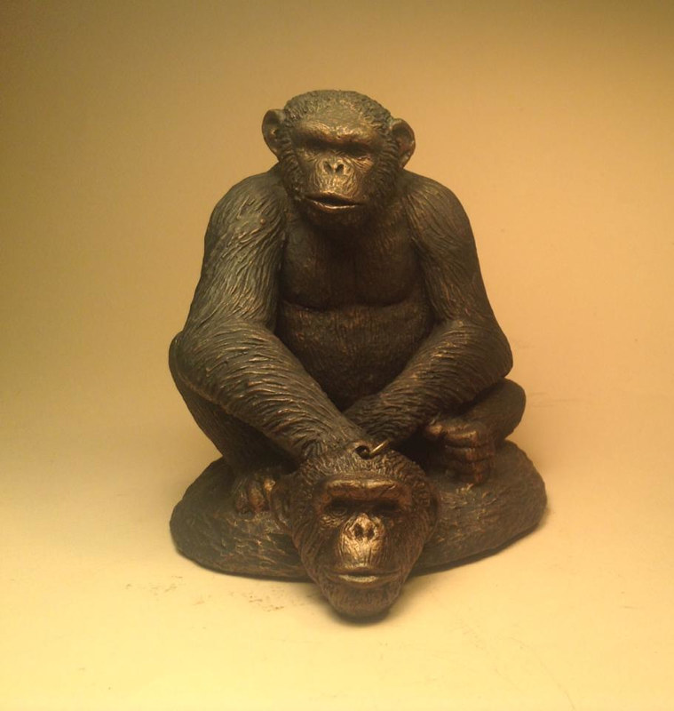 Knuckles chimpanzee sculpture pendant combo bronze finish by Jason  Shanaman