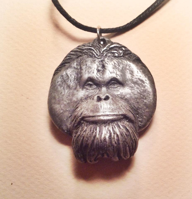 Pongo orangutan pendant cold cast pewter by Jason  Shanaman