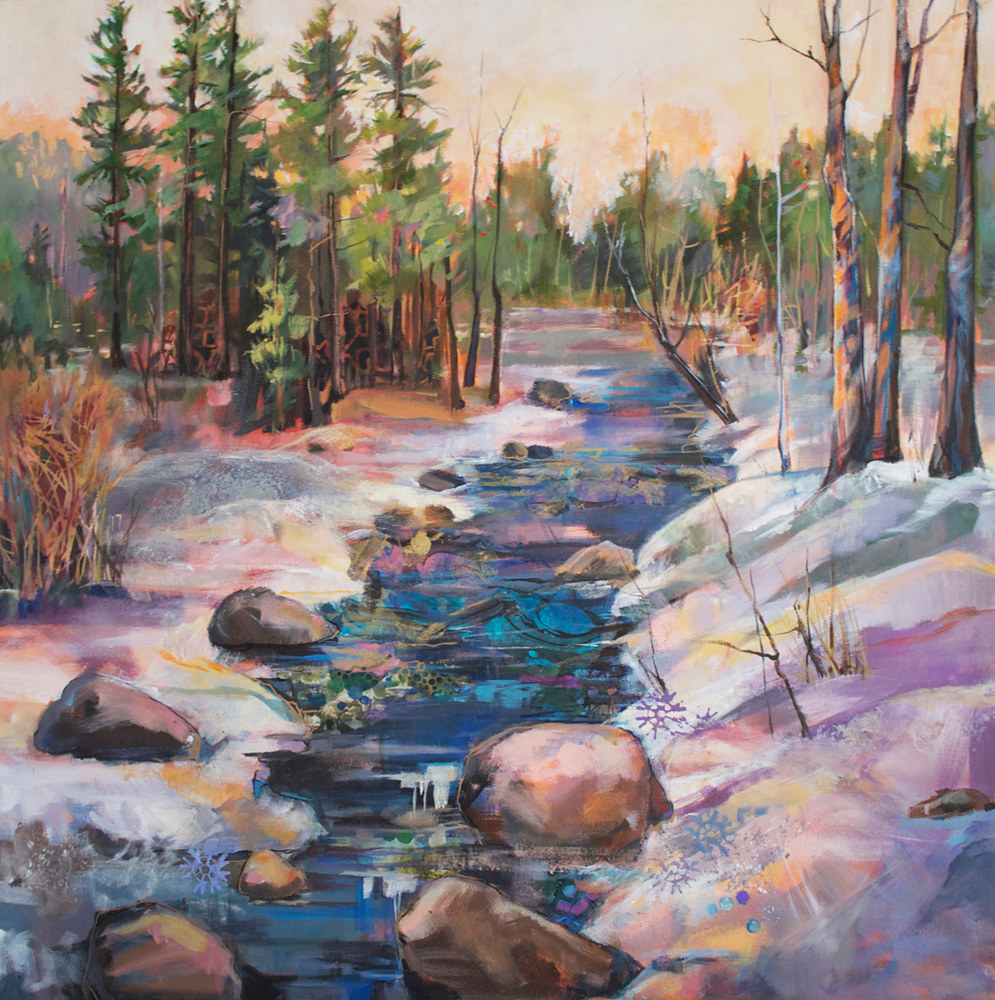 Mixed-media artwork Winter's Edge by Marty Husted