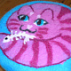 Pink tabby stool by Valerie Johnson