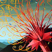 "Acrylic painting 30.  ""Flaming Lotus, A Spiral of Crystal Projectiles""    by Jon Harris"
