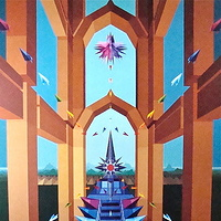 "Acrylic painting 11. ""Temple of the Celestial Offering, the Sacred Altar""   by Jon Harris"