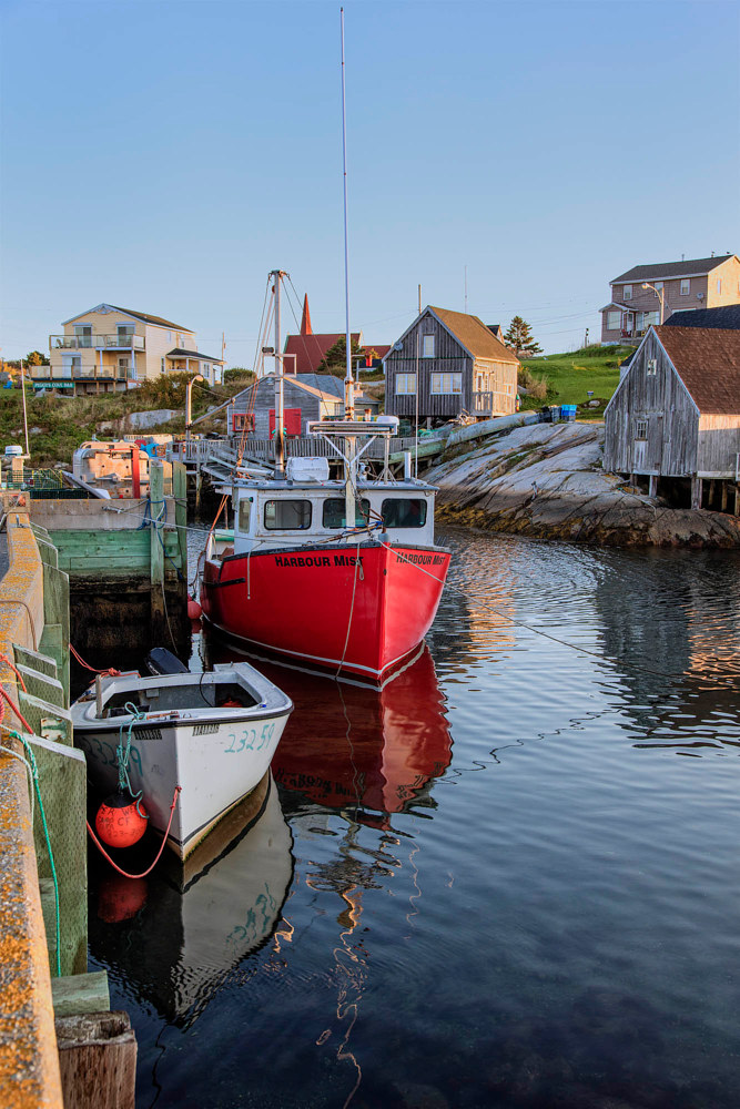 peggys cove boats at sunrise - portfolio for william kent