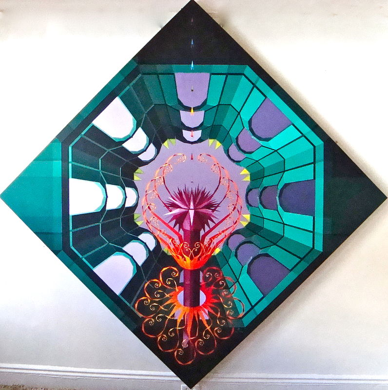 "Acrylic painting 4. ""Lotus and the Purifying Fire in Emerald Sky Temple""     by Jon Harris"