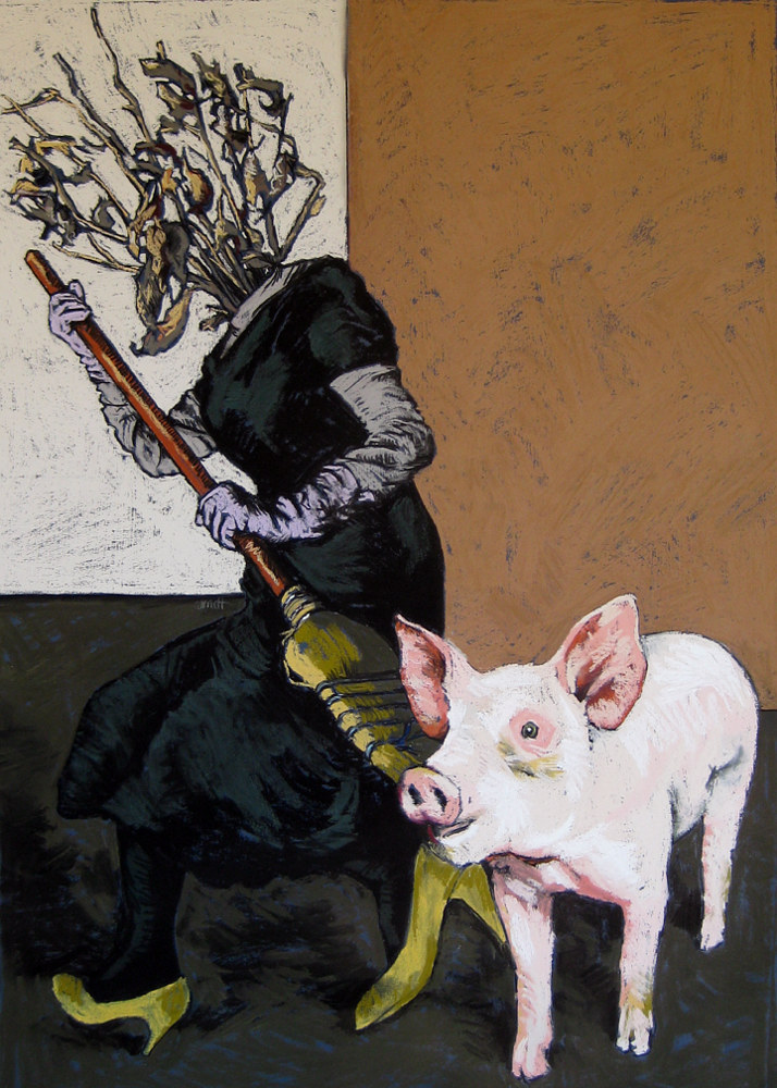 Witch and Pig by Ellen Cornett