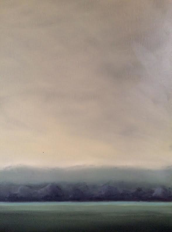 Oil painting Landscape with Grey Green Sky- SOLD by Sarah Trundle