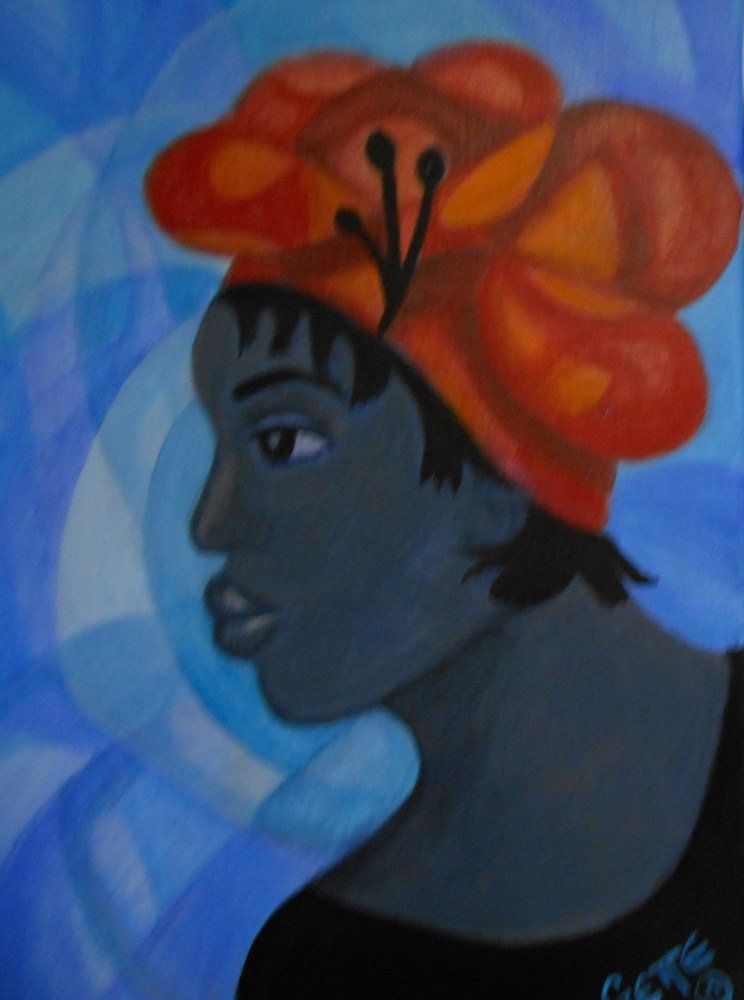 Acrylic painting WOMAN IN A RED HAT #1 by Georgette  Jones