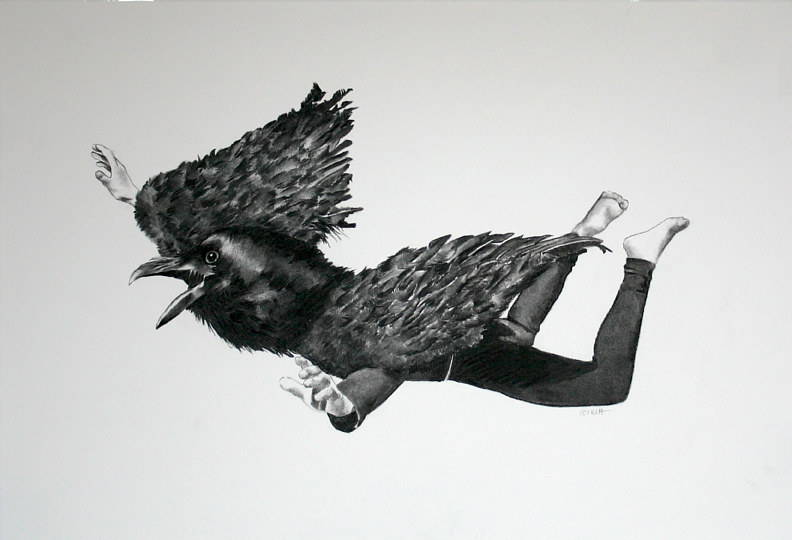 Drawing Blackbird Flying by Ellen Cornett
