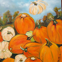 Oil painting Waiting for the Great Pumpkin Sept 30 by Michelle Marcotte