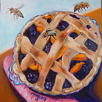 Photography My Sister Ann's Blackberry Peach and Three Bee Sting Pie by Michelle Marcotte