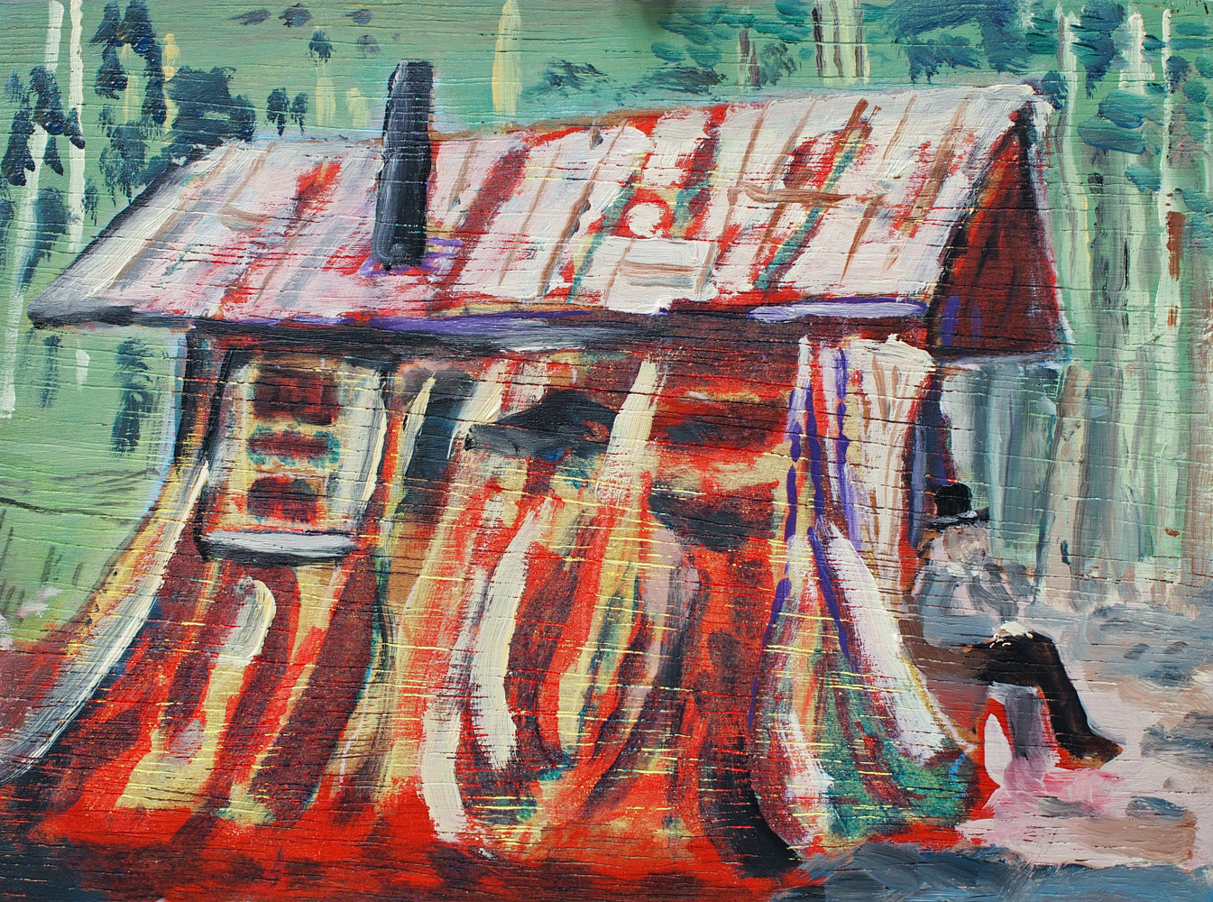 Oil painting Cear Stump House III by Dennis Worrel