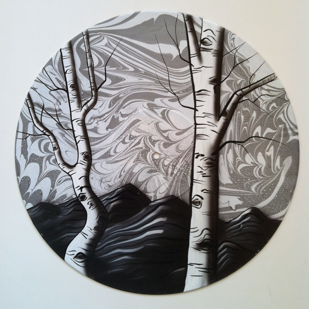 Monochrome Aspens  - Painting on Vinyl Record by Mr Mizu by Isaac Carpenter