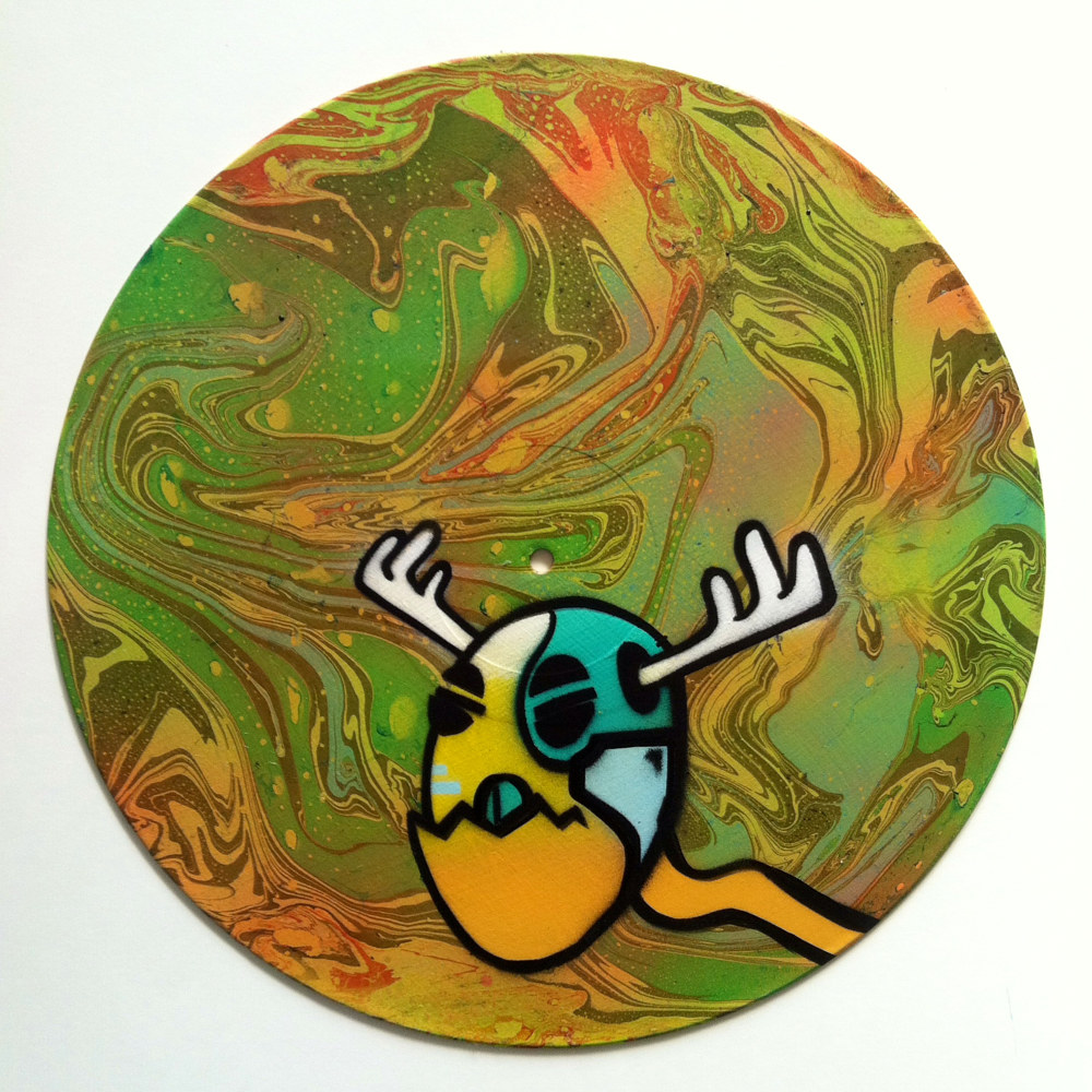 Mr. Egghead  - Painting on Vinyl Record by Mr Mizu by Isaac Carpenter