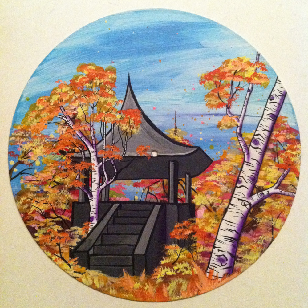 Asian aspens  - Painting on Vinyl Record by Mr Mizu by Isaac Carpenter