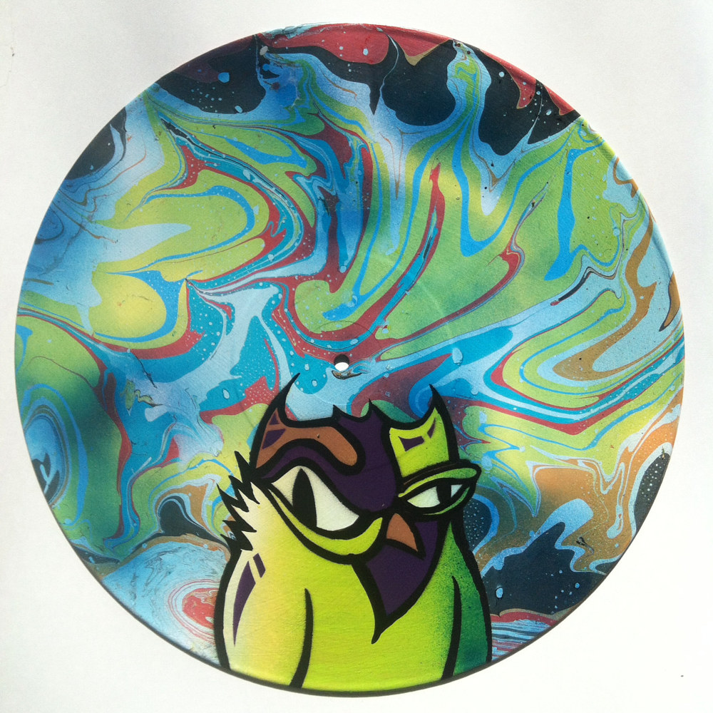 Green Owl  - Painting on Vinyl Record by Mr Mizu by Isaac Carpenter