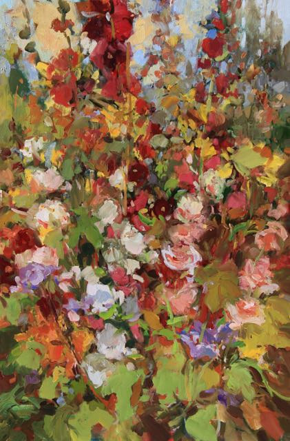 Oil painting Torgie's Hollyhocks by Susette Gertsch