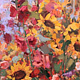 Oil painting Sunflowers & Hollyhocks by Susette Gertsch
