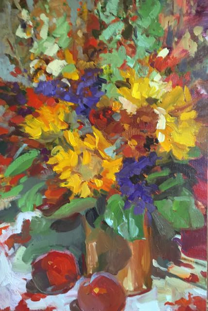 Oil painting Birthday Bouquet by Susette Gertsch