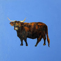Oil painting The Neighbour's Bull, 2015 by Edith dora Rey