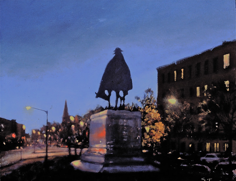Oil painting 16th Street statue by Scott Ivey