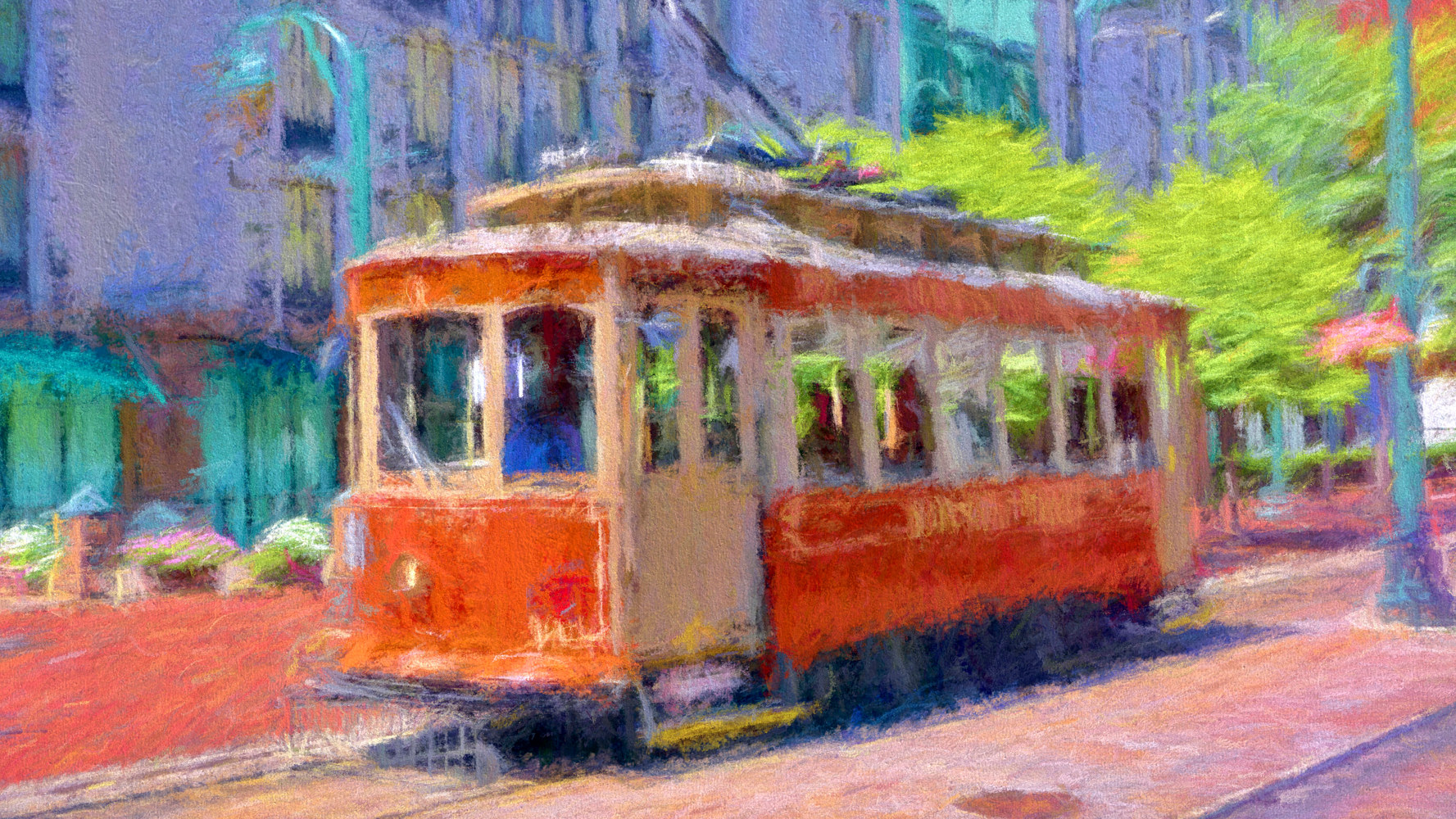 Print Main Street Trolley 1979  - Memphis Impression by Edward Bock
