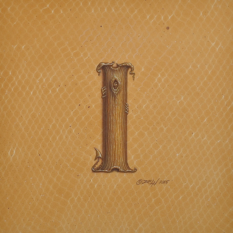 "Acrylic painting Dracoserific letter ""I""- 3.0, Gold on Raw Gold 8x8"" square by Sue Ellen Brown"