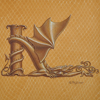 "Acrylic painting Dracoserific letter K, Gold on Raw Gold 8x8"" square by Sue Ellen Brown"