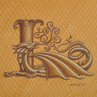 "Acrylic painting Dracoserific letter L, Gold on Raw Gold 8x8"" square by Sue Ellen Brown"