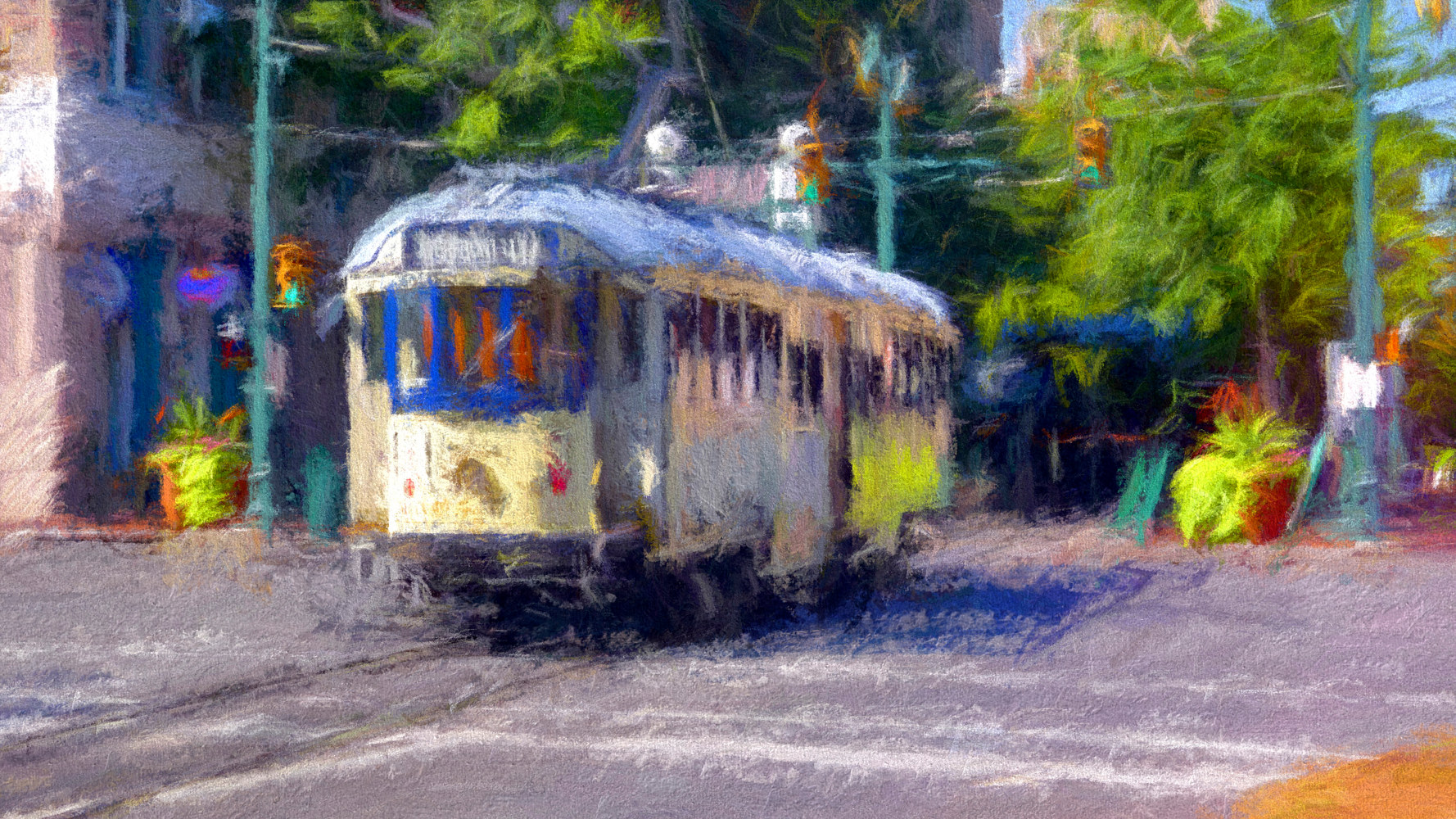 Print Riverfront Loop Trolley 540  - Memphis Impression by Edward Bock