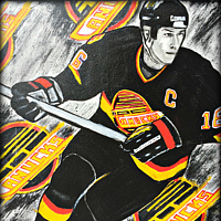 Acrylic painting Trevor Linden by Carly Jaye Smith