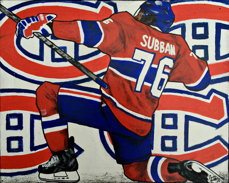 Acrylic painting PK Subban by Carly Jaye Smith