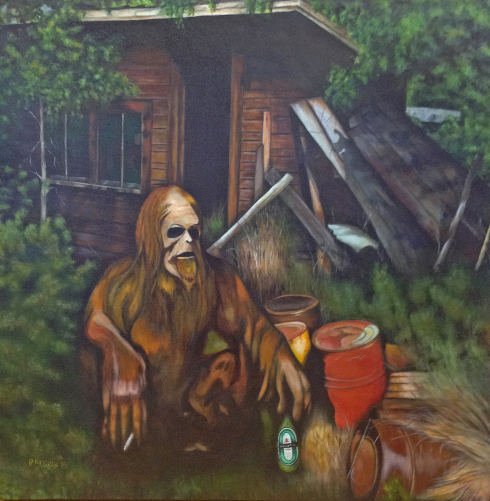 Acrylic painting Interview with the Sasquatch by Rick Gillis
