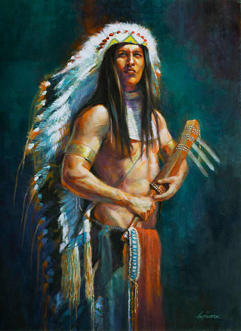 Oil painting Pride of a Warrior by Kim Fujiwara