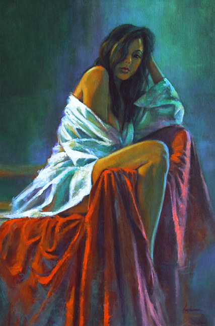 Oil painting Leg Over Arm  by Kim Fujiwara
