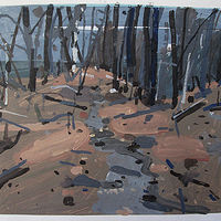 Acrylic painting Forest Path, December 23 by Harry Stooshinoff