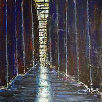 Acrylic painting Alley in Blue and Violet by David Tycho