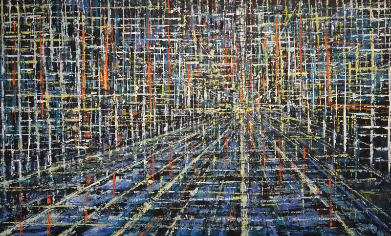 Acrylic painting Urban Matrix #14 by David Tycho