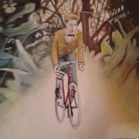 Oil painting Bicycle Through a Burning Bush by Timothy Innamorato