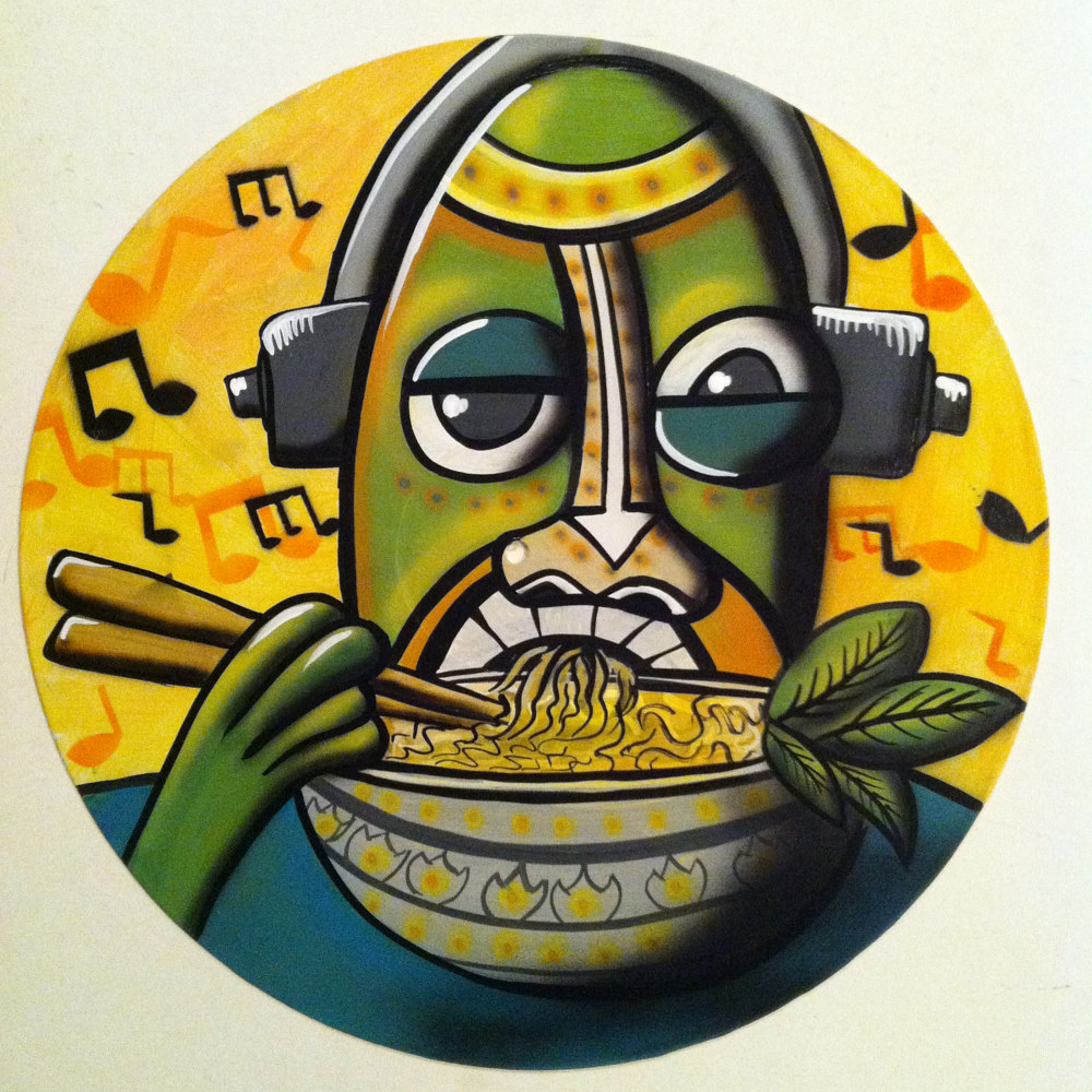 Soup Monster  - Painting on Vinyl Record by Mr Mizu by Isaac Carpenter