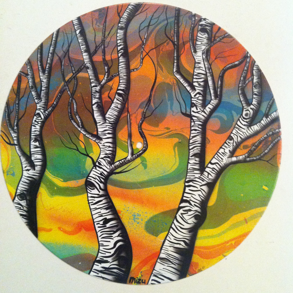 Aspens  - Painting on Vinyl Record by Mr Mizu by Isaac Carpenter