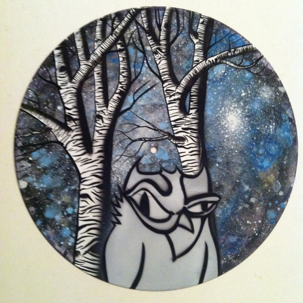 Owl & aspens  - Painting on Vinyl Record by Mr Mizu by Isaac Carpenter