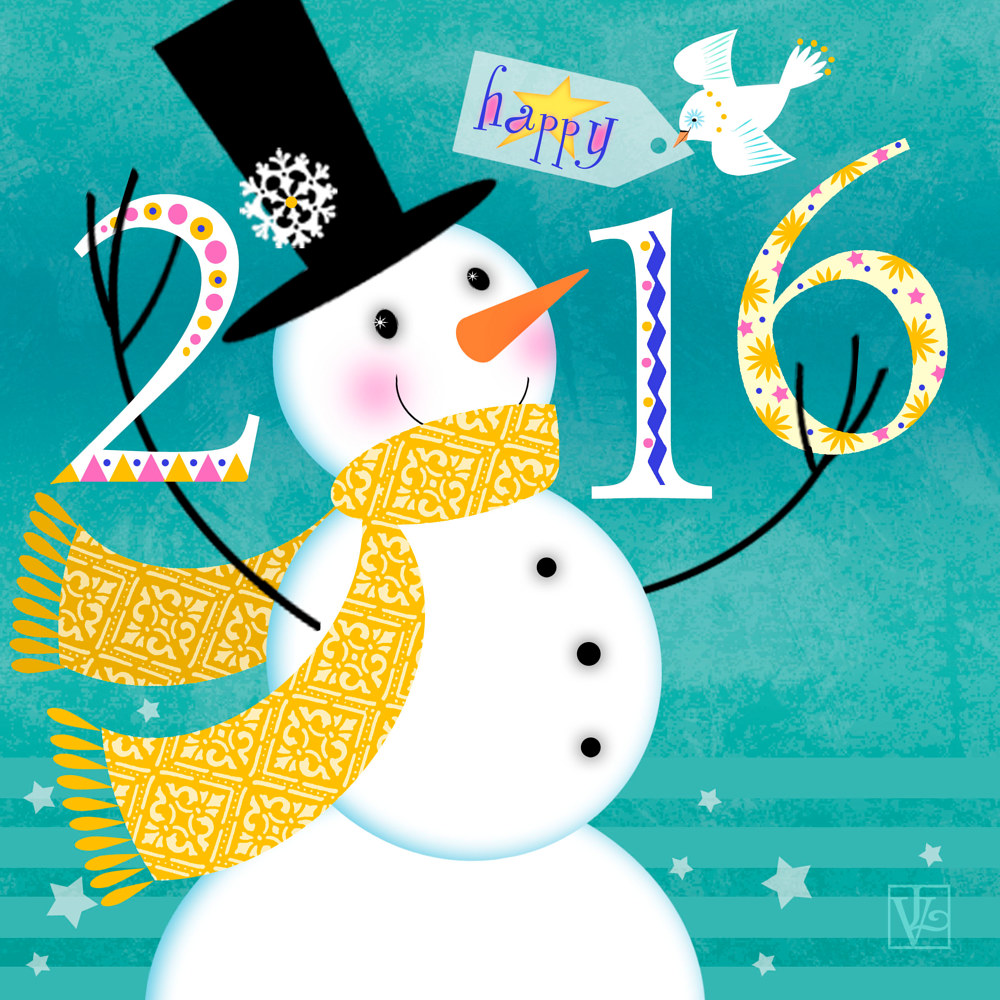 Happy New Year 2016 by Valerie Lesiak