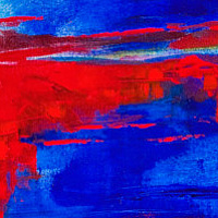 Acrylic painting Red Dances Out of Blue With Yellow by Skai Fowler