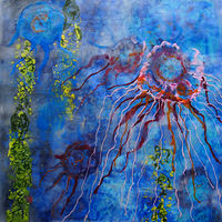 Painting Blue and Red Jellyfish_edited-2 by Michele Barnes