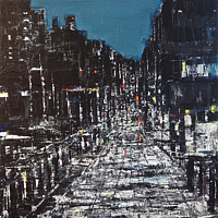 Acrylic painting Urban Composition in Black, White and Blue by David Tycho