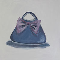 Oil painting little purple bag by Katherine Bennett